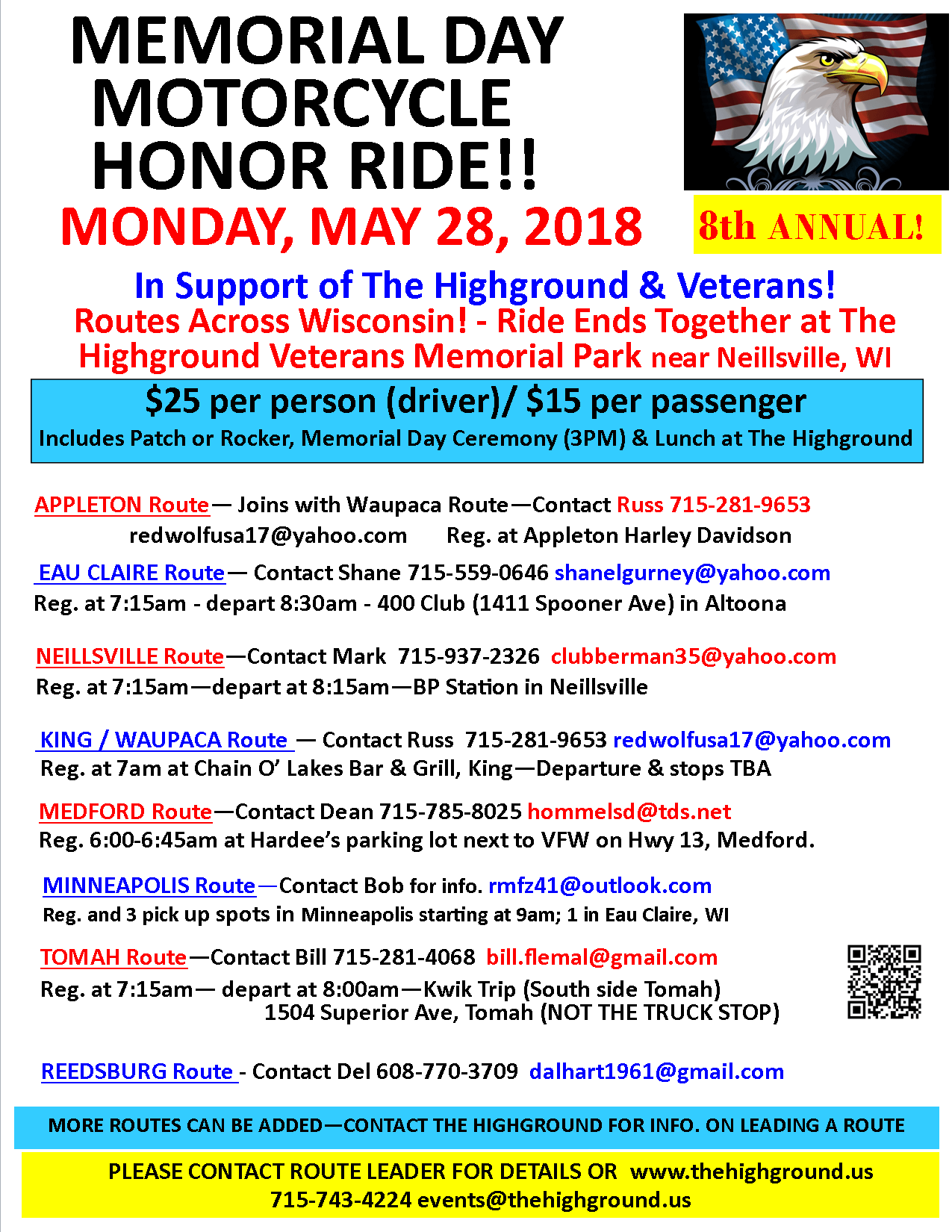 - 2018 Honor Ride poster 8x11 - Memorial Day Motorcycle Honor Ride